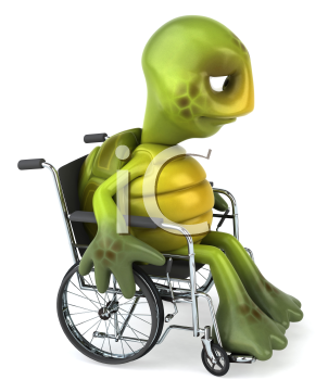 Royalty Free Clipart Image of a Sad, Handicapped Turtle