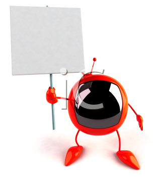 Royalty Free 3d Clipart Image of a Retro Television Holding a Sign