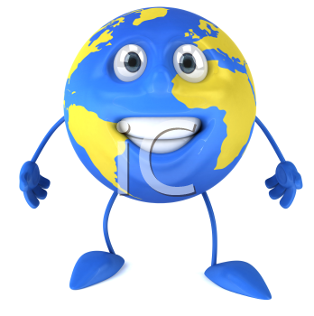Royalty Free Clipart Image of a Smiling Blue Globe