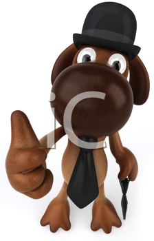 Royalty Free Clipart Image of an English Dog Giving a Thumbs Up