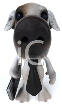 Royalty Free Clipart Image of a Dog With a Briefcase