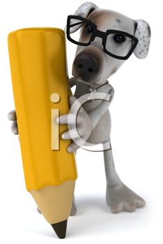 Royalty Free Clipart Image of a Dog With a Pencil
