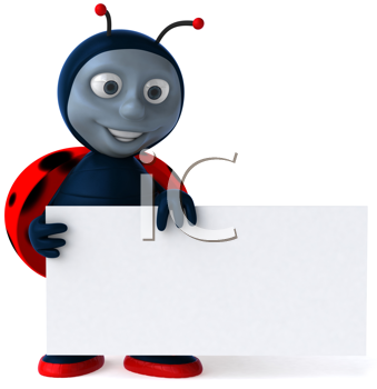 Royalty Free Clipart Image of a Ladybug With a Sign