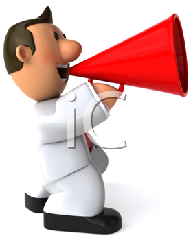 Royalty Free Clipart Image of a Painter With a Megaphone