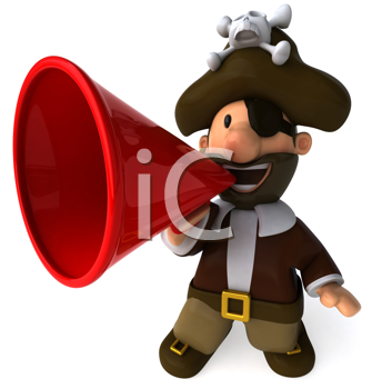 Royalty Free Clipart Image of a Pirate With a Bullhorn