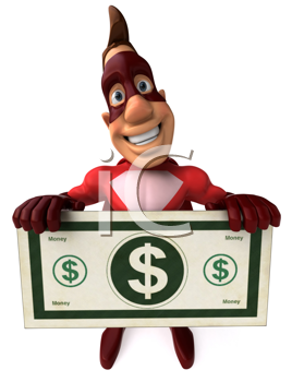 Royalty Free Clipart Image of a Superhero With a Dollar Bill