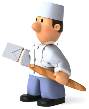 Royalty Free Clipart Image of a Baker With a Baguette and Envelope