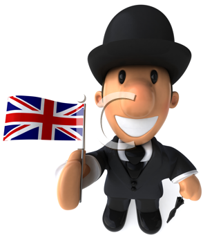 Royalty Free Clipart Image of a British Gent With a Union Jack