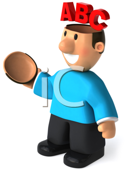 Royalty Free Clipart Image of a Man With ABC on His Open Mind