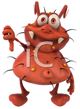 Royalty Free Clipart Image of a Germ Giving a Thumbs Down