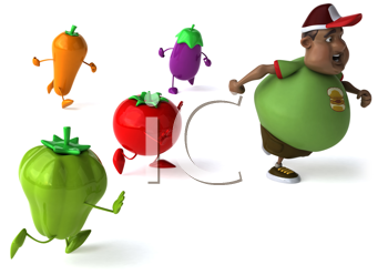 Royalty Free Clipart Image of Veggies Chasing an Overweight Black Man