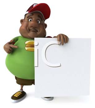 Royalty Free Clipart Image of an Overweight Black Man With a Sign
