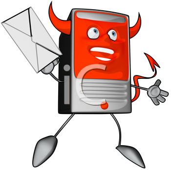 Royalty Free Clipart Image of a Modem With a Letter