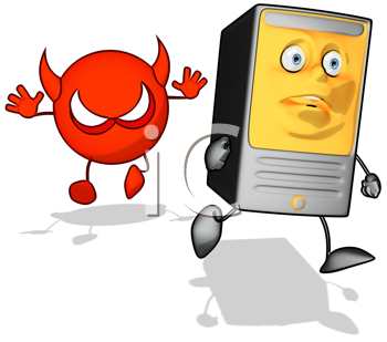 Royalty Free Clipart Image of a Devil Chasing a Modem