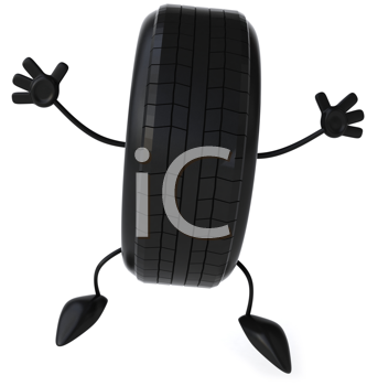 Royalty Free Clipart Image of a Happy Tire