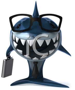 Royalty Free Clipart Image of a Shark With a Briefcases and Glasses