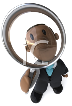 Royalty Free Clipart Image of a Black Businessman With a Magnifying Glass