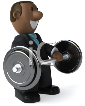 Royalty Free Clipart Image of an African American Businessman Lifting Weights