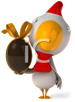 Royalty Free Clipart Image of a Chicken With a Chocolate Egg