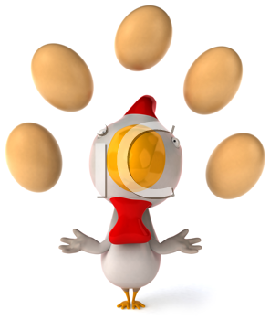 Royalty Free Clipart Image of a Chicken Juggling Eggs
