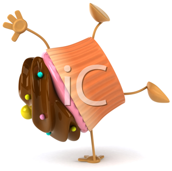 Royalty Free Clipart Image of a Cupcake Doing a Handspring