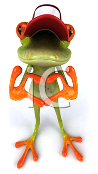 Royalty Free Clipart Image of a Frog in a Cap