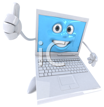 Royalty Free Clipart Image of a Laptop Giving a Thumbs Up