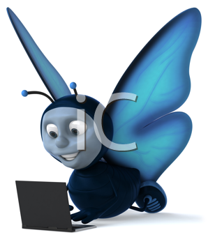 Royalty Free Clipart Image of a Butterfly With a Laptop