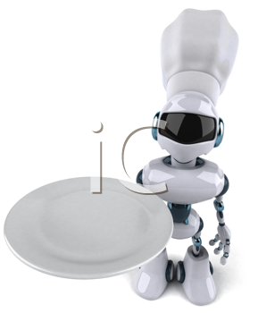 Royalty Free Clipart Image of a Robot Chef With a Plate