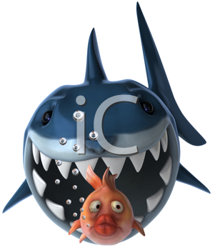 Royalty Free Clipart Image of a Shark Chasing a Goldfish