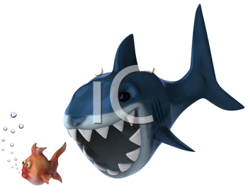 Royalty Free Clipart Image of a Shark Chasing a Fish