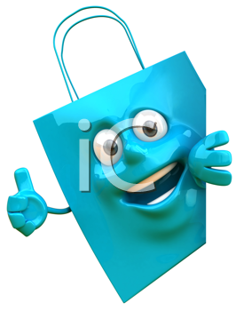 Royalty Free Clipart Image of a Shopping Bag Giving a Thumbs Up