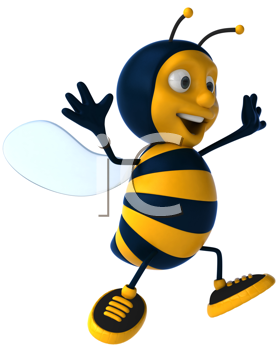 Royalty Free Clipart Image of a Happy Bee
