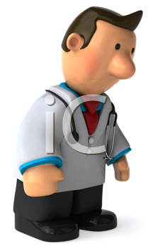 Royalty Free Clipart Image of a Dejected Doctor
