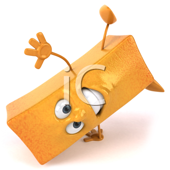 Royalty Free Clipart Image of a French Fry Doing a Handspring