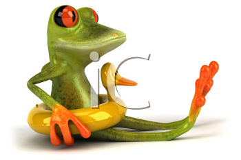 Royalty Free Clipart Image of a Frog in a Duck Ring