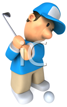 Royalty Free Clipart Image of a Golfer Taking a Swing