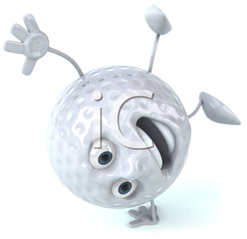 Royalty Free Clipart Image of a Golf Ball Doing a Handspring