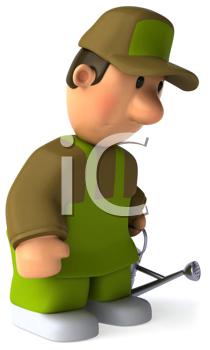 Royalty Free Clipart Image of a Sad Man With a Watering Can