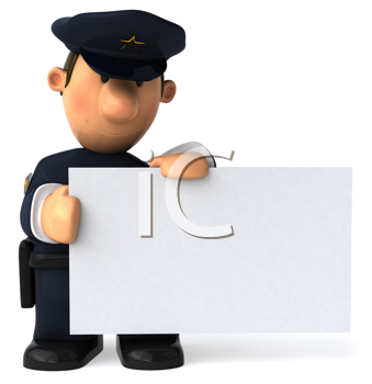 Royalty Free Clipart Image of a Cop With a Sign