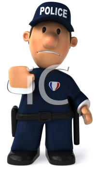 Royalty Free Clipart Image of a Cop With His Hand Up