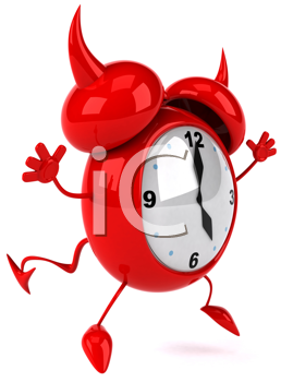 Royalty Free Clipart Image of a Happy Devil Alarm Clock