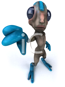 Royalty Free Clipart Image of an Alien Giving a Thumbs Down