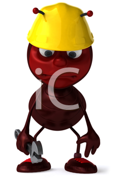 Royalty Free Clipart Image of a Dejected Ant in a Hardhat With a Wrench