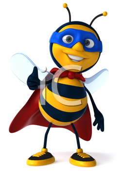 Royalty Free Clipart Image of a Superhero Bee