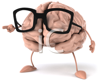 Royalty Free Clipart Image of a Brain in Glasses Pointing