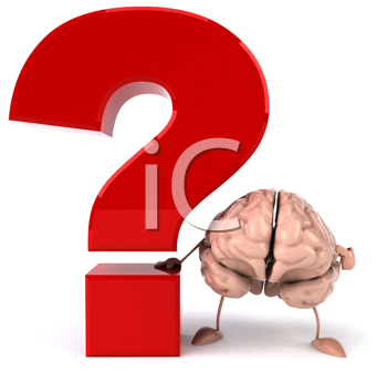 Royalty Free Clipart Image of a Brain With a Question Mark