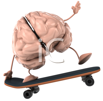 Royalty Free Clipart Image of a Skateboarding Brain