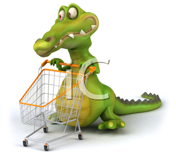 Royalty Free Clipart Image of an Alligator With a Shopping Cart