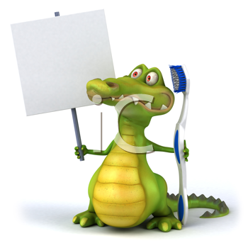 Royalty Free Clipart Image of an Alligator With a Toothbrush and Sign